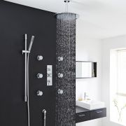 "Tec Thermostatic Shower System with 12"" Head & Ceiling Arm, Handset & 6 Round Body Sprays"