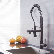 Quest - Black Kitchen Faucet with Spring Spout and Pot filler