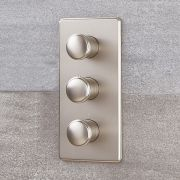 Eclipse - Brushed Nickel Triple Thermostatic Shower Valve with Diverter - Three Outlets
