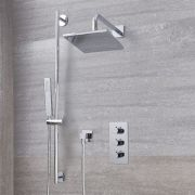 """Arcadia Thermostatic Chrome Shower System with 8"""" Shower Head and Slide Rail Kit"""
