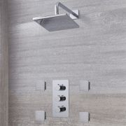 "Arcadia Thermostatic Chrome Shower System with 8"" Shower Head and 4 Body Sprays"