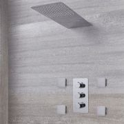 Arcadia Thermostatic Shower System with Waterfall Head and Jets - Available in Multiple Finishes