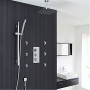"Valquest Thermostatic Shower System with 12"" Ceiling Head, Handshower & 6 Mist Spray Jet Sprays"