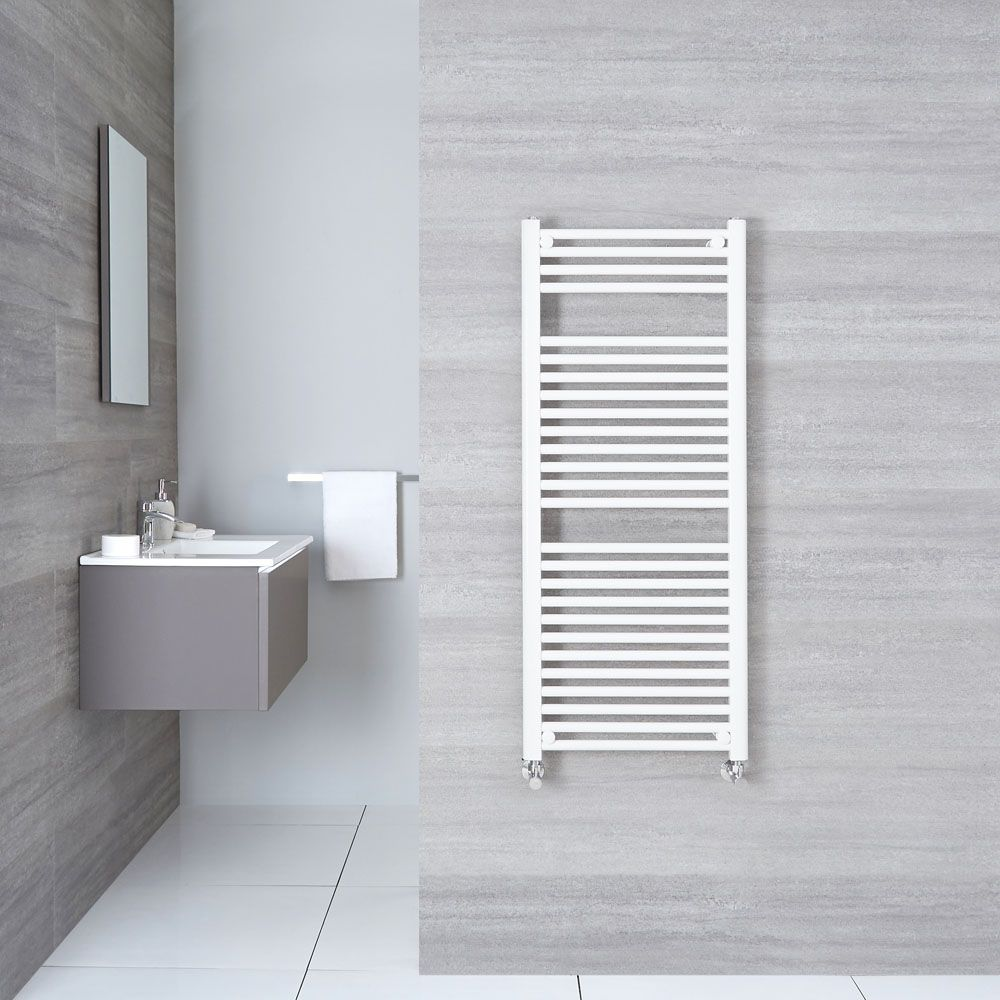 Etna Hydronic White Heated Towel Warmer 47 25 Quot X 19 75 Quot