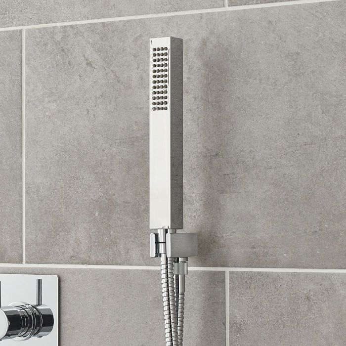 Square Shower Kit with Integrated Outlet Elbow and Parking Bracket - Chrome Finish
