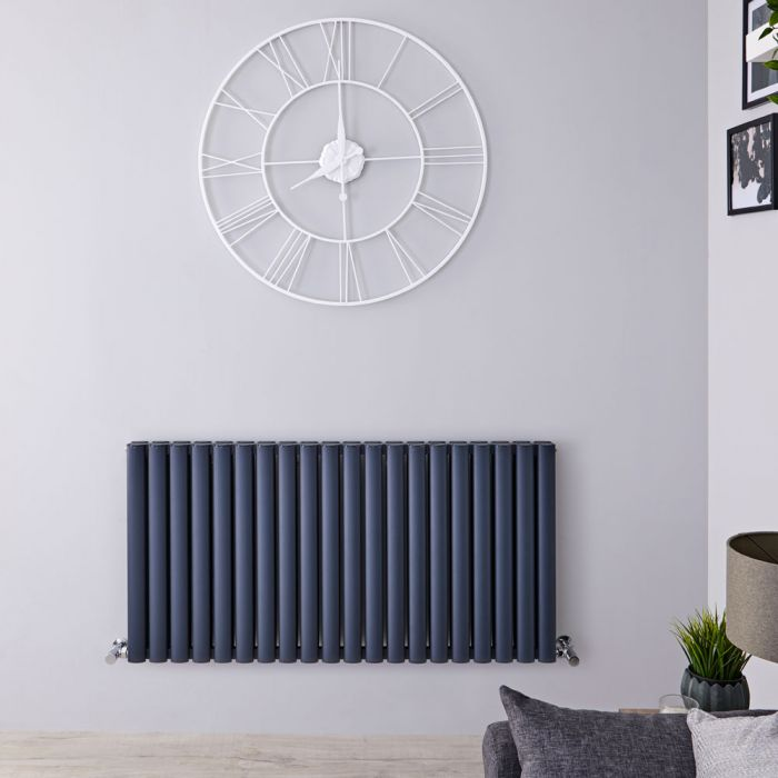 "Revive Air - Anthracite Aluminum Horizontal Double-Panel Designer Radiator - 23.5"" x 46.75"""