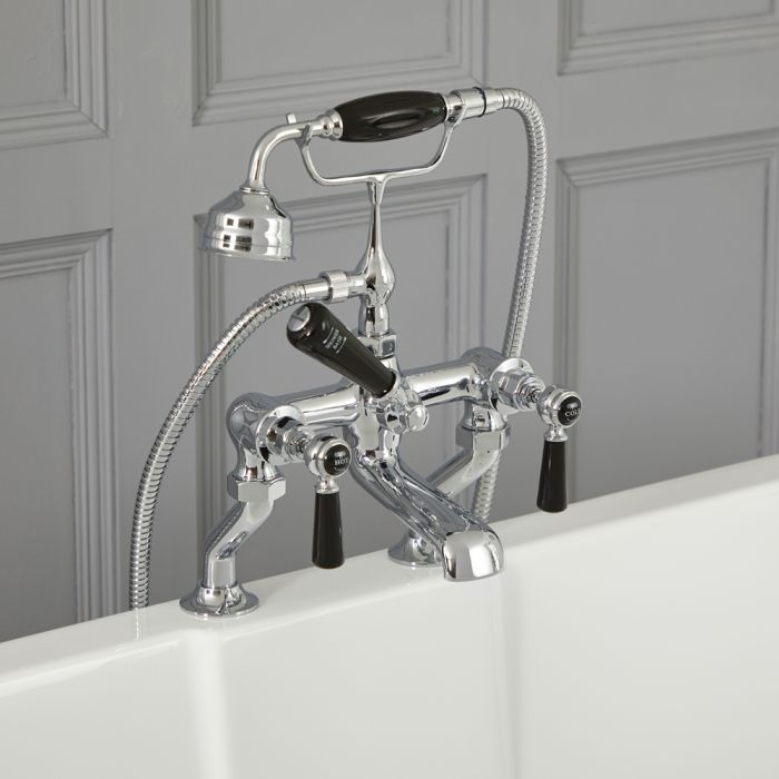 Elizabeth - Traditional Deck Mount Lever Handle Tub Faucet with Telephone Style Hand Shower - Multiple Finishes Available