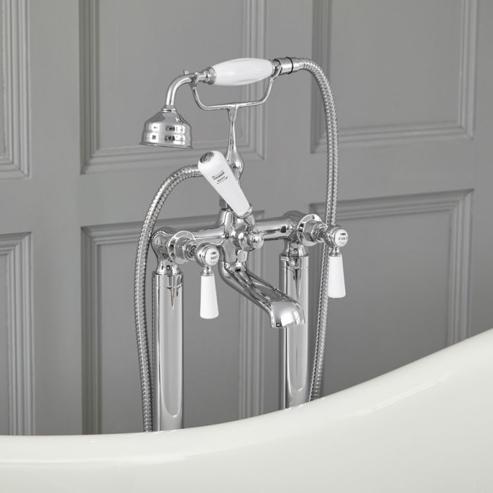 Elizabeth - Tradtional Freestanding Lever Handle Tub Faucet with Telephone Style Hand Shower - Multiple Finishes Available