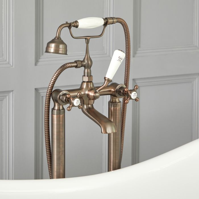 Elizabeth - Tradtional Freestanding Cross Handle Tub Faucet with Telephone Style Hand Shower - Multiple Finishes Available