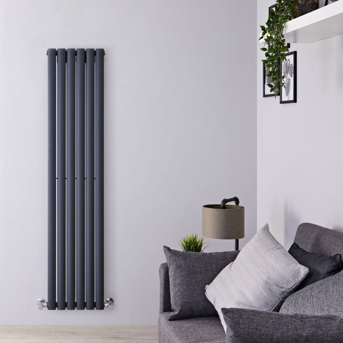 "Revive - Anthracite Vertical Single-Panel Designer Radiator - 63"" x 14"""