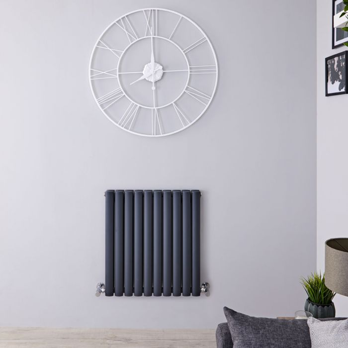 "Revive - Anthracite Horizontal Double-Panel Designer Radiator - 25"" x 23.25"""