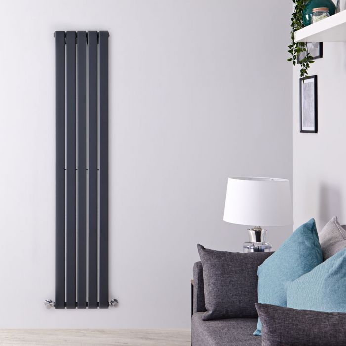"Delta - Anthracite Vertical Single Slim-Panel Designer Radiator - 63"" x 13.75"""