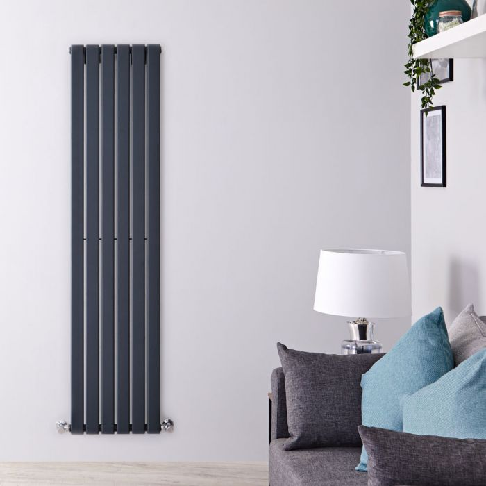 "Delta - Anthracite Vertical Single Slim-Panel Designer Radiator - 63"" x 16.5"""