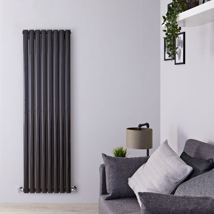 "Revive - Black Vertical Double-Panel Designer Radiator - 63"" x 18.5"""