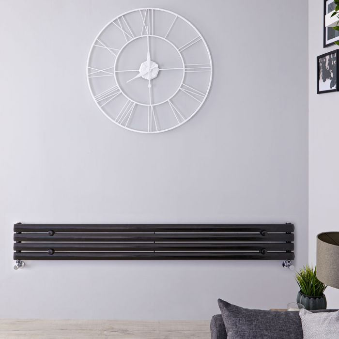 "Revive - Black Horizontal Single-Panel Designer Radiator - 9.25"" x 63"""