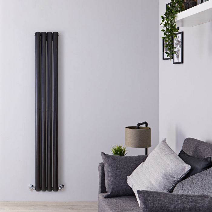 "Revive - Black Vertical Double-Panel Designer Radiator - 63"" x 9.25"""