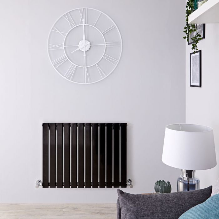 "Delta - Black Horizontal Single Slim-Panel Designer Radiator - 25"" x 33"""