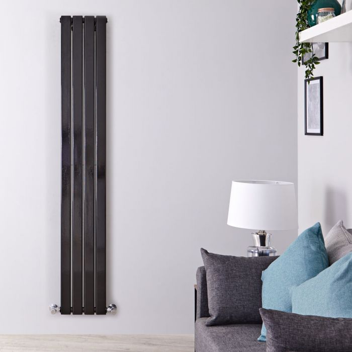 "Delta - Black Vertical Double Slim-Panel Designer Radiator - 63"" x 11"""