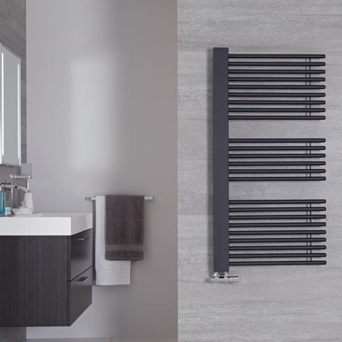 "Bosa - Anthracite Hydronic Designer Towel Warmer - 46.75"" x 23.5"""