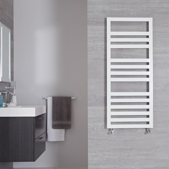 "Ponza - White Hydronic Designer Towel Warmer - 47.25"" x 19.75"""