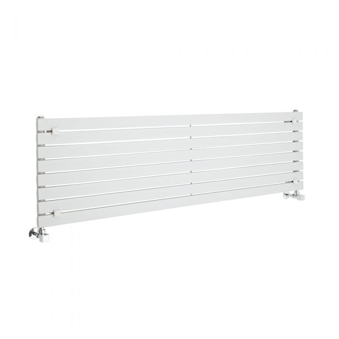 "Sloane - White Horizontal Single Flat-Panel Designer Radiator - 18.5"" x 63"""