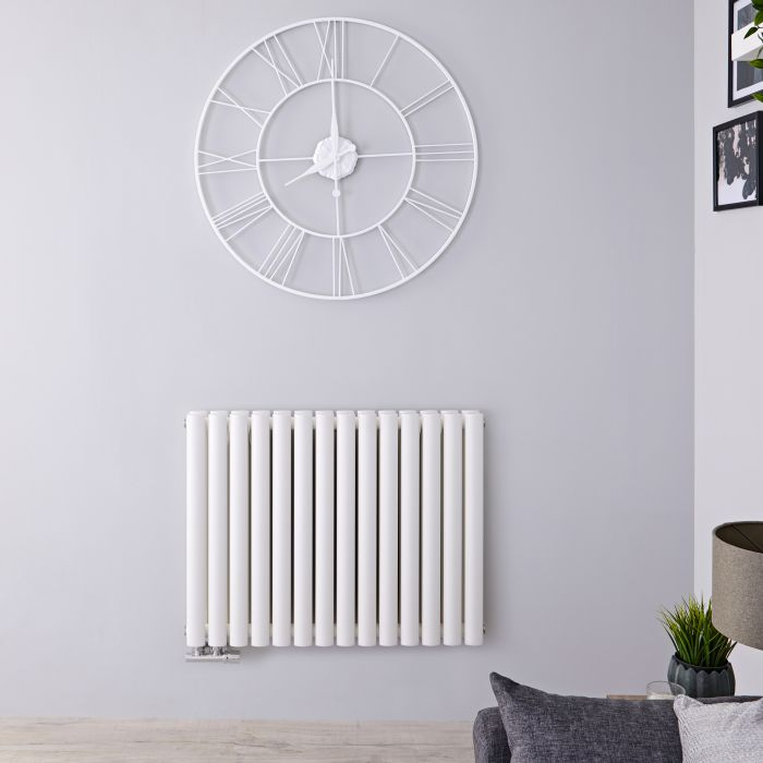 "Revive Caldae - White Horizontal Double-Panel Designer Radiator - 25"" x 32.75"""