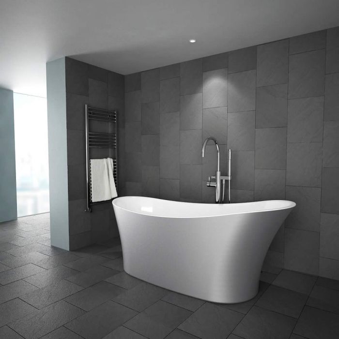 "Modern Silver Freestanding Single Ended Bath Tub 70"""