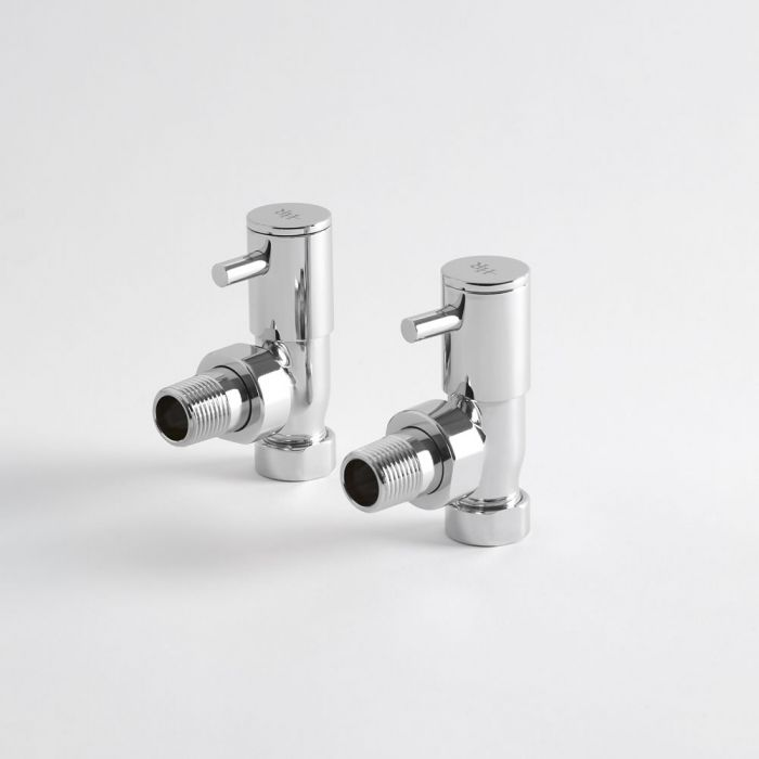 Hudson Reed Minimalist Chrome Manual Angled Radiator Valves (Pair)