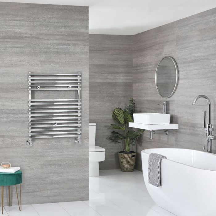 "Arno - Chrome Hydronic Bar On Bar Towel Warmer - 28 3/4"" x 17 3/4"""