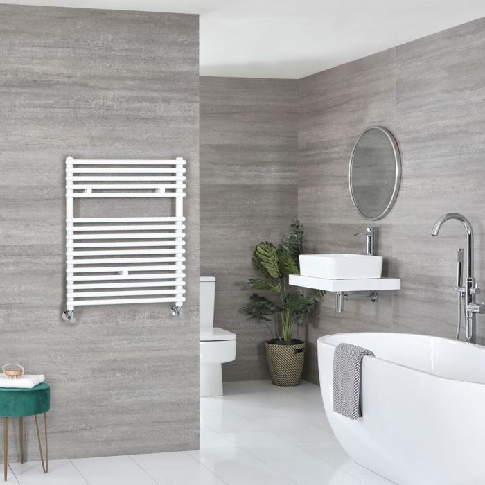 "Arno - White Hydronic Bar On Bar Towel Warmer - 28 3/4"" x 17 3/4"""