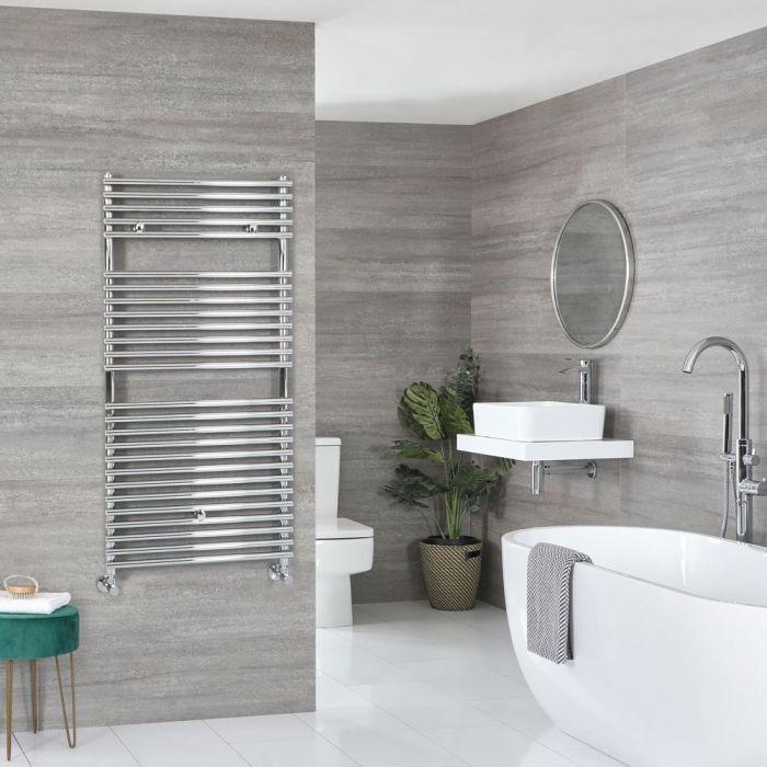 "Arno - Chrome Hydronic Bar On Bar Towel Warmer - 46 7/8"" x 17 3/4"""