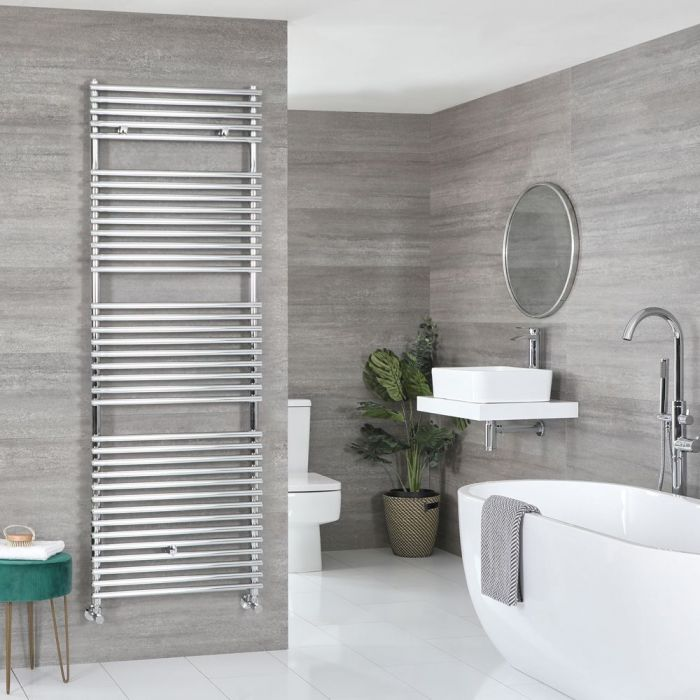 "Arno - Chrome Hydronic Bar On Bar Towel Warmer - 68 3/8"" x 17 3/4"""