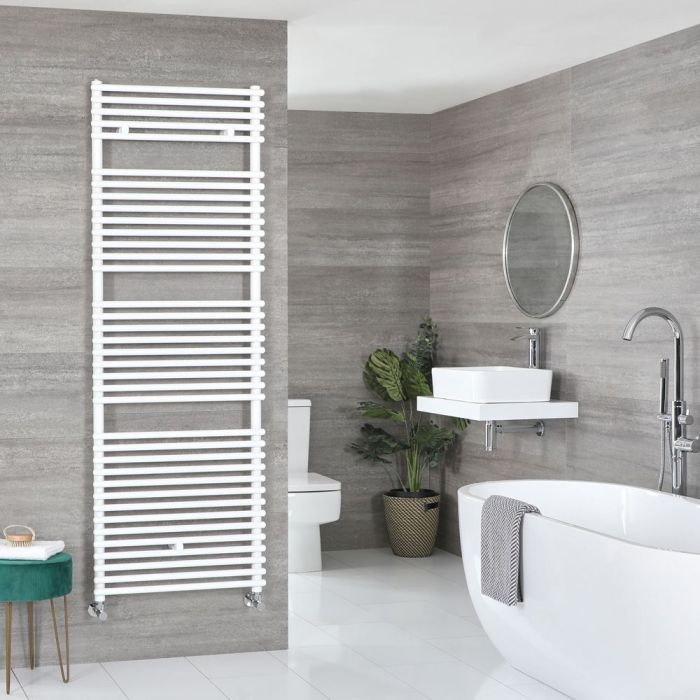 "Arno - White Hydronic Bar On Bar Towel Warmer - 68 3/8"" x 17 3/4"""