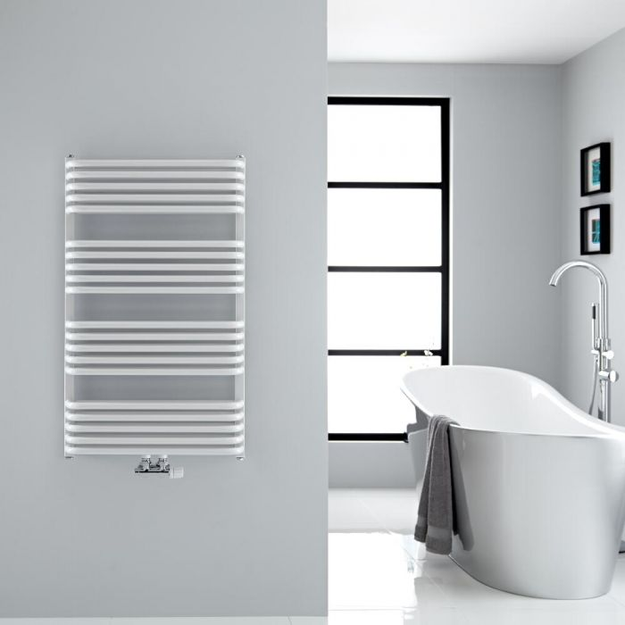 """Arch - White Hydronic Heated Towel Warmer - 39.25"""" x 23.5"""""""