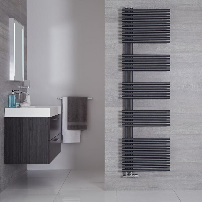 "Iseo - Anthracite Hydronic Designer Towel Warmer - 67"" x 19.75"""