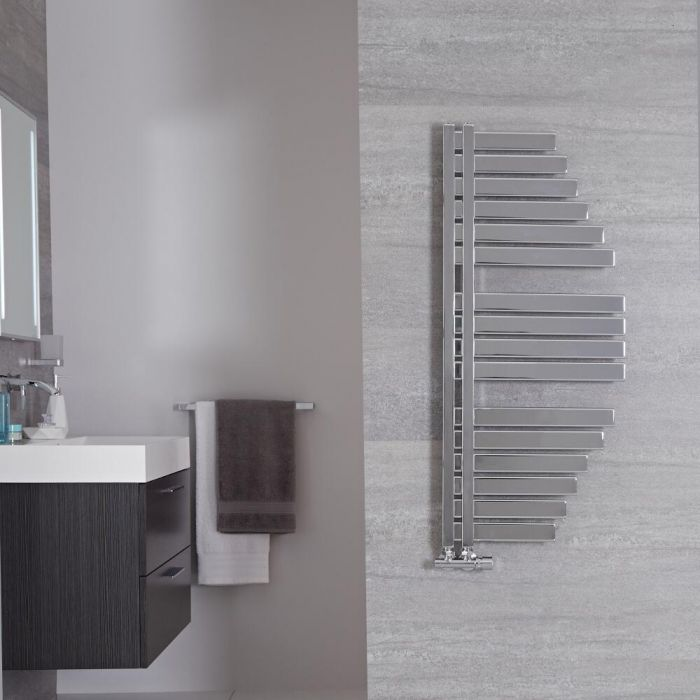 "Lazio - Chrome Hydronic Designer Towel Warmer - 43.25"" x 19"""