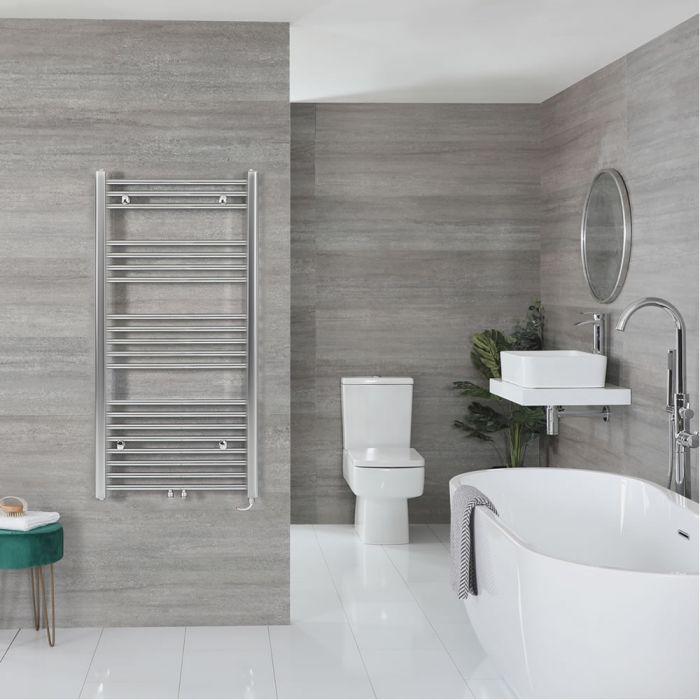 "Neva Electric - Chrome Flat Towel Warmer - 46 3/4"" x 19 5/8"""