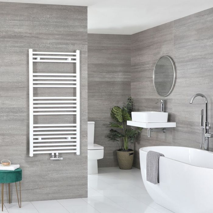 """Neva – White Hydronic Central Connection Flat Towel Warmer – 46 3/4"""" x 19 5/8"""""""