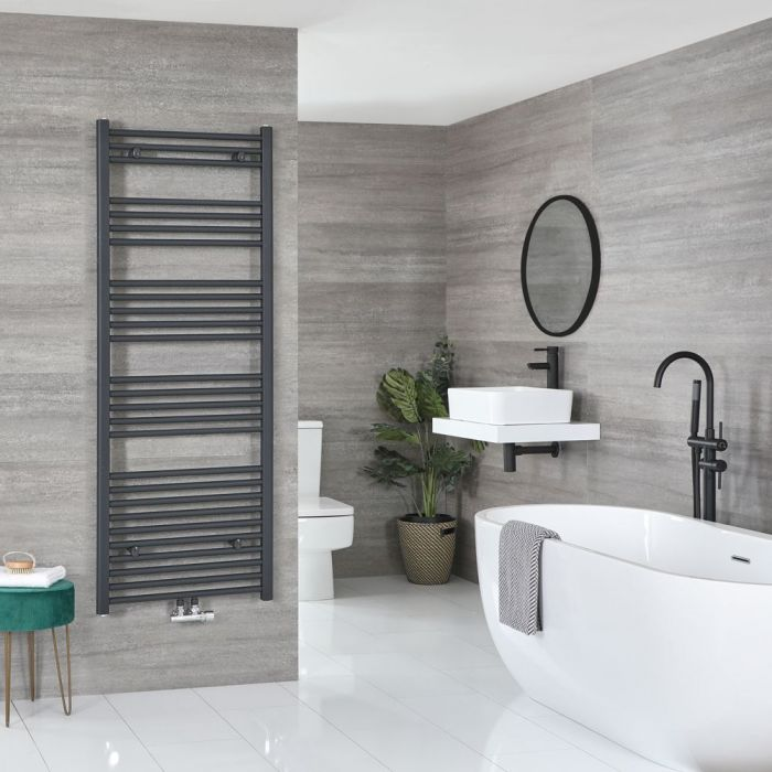 """Neva - Anthracite Hydronic Central Connection Flat Towel Warmer - 63"""" x 19 5/8"""""""