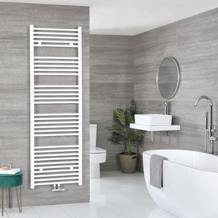 """Neva - White Hydronic Central Connection Flat Towel Warmer - 70 1/4"""" x 19 5/8"""""""