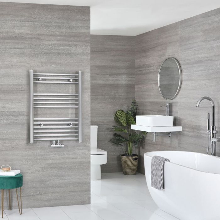 """Neva - Chrome Hydronic Central Connection Flat Towel Warmer - 31 5/8"""" x 19 5/8"""""""