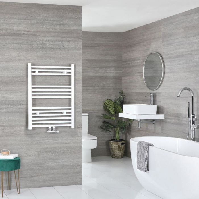 """Neva - White Hydronic Central Connection Flat Towel Warmer - 31 5/8"""" x 19 5/8"""""""