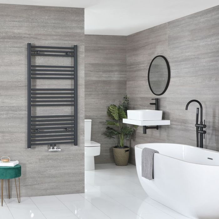 "Neva – Anthracite Hydronic Central Connection Flat Towel Warmer – 46 3/4"" x 23 5/8"""
