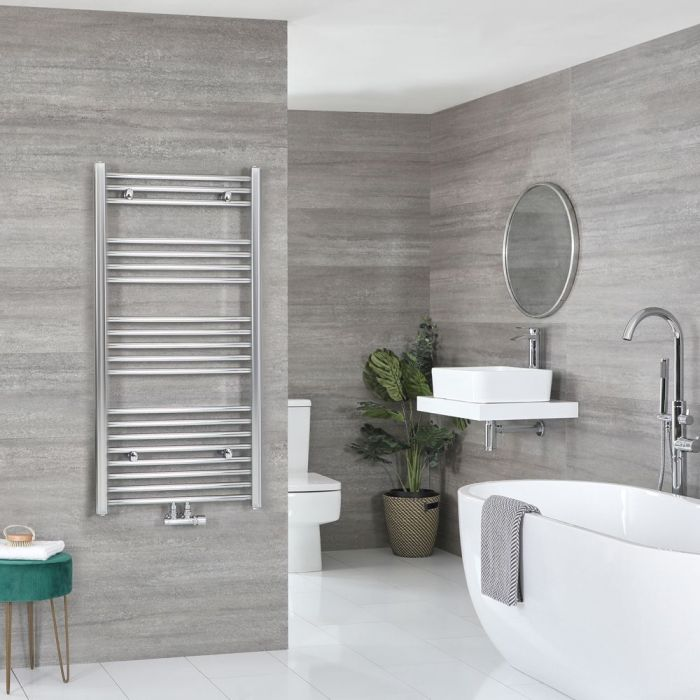 """Neva - Chrome Hydronic Central Connection Flat Towel Warmer - 46 3/4"""" x 23 5/8"""""""