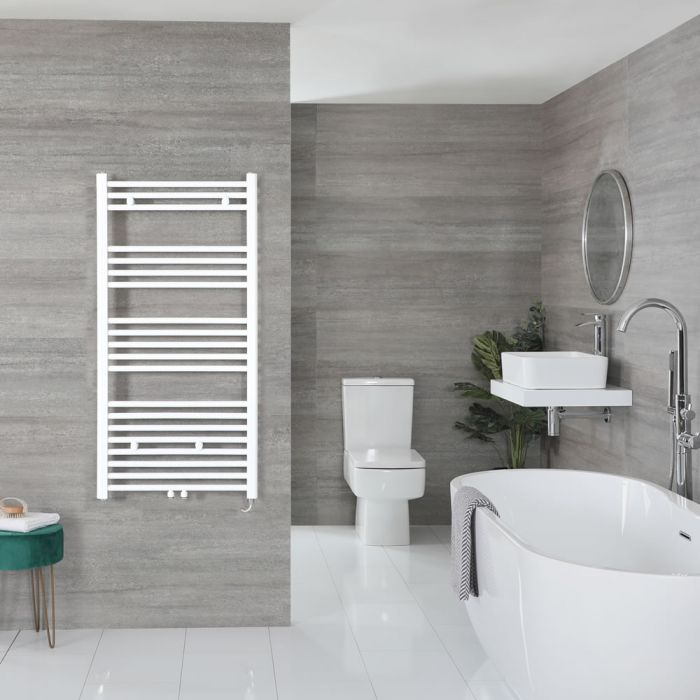 "Neva Electric - White Flat Towel Warmer - 46 3/4"" x 23 5/8"""