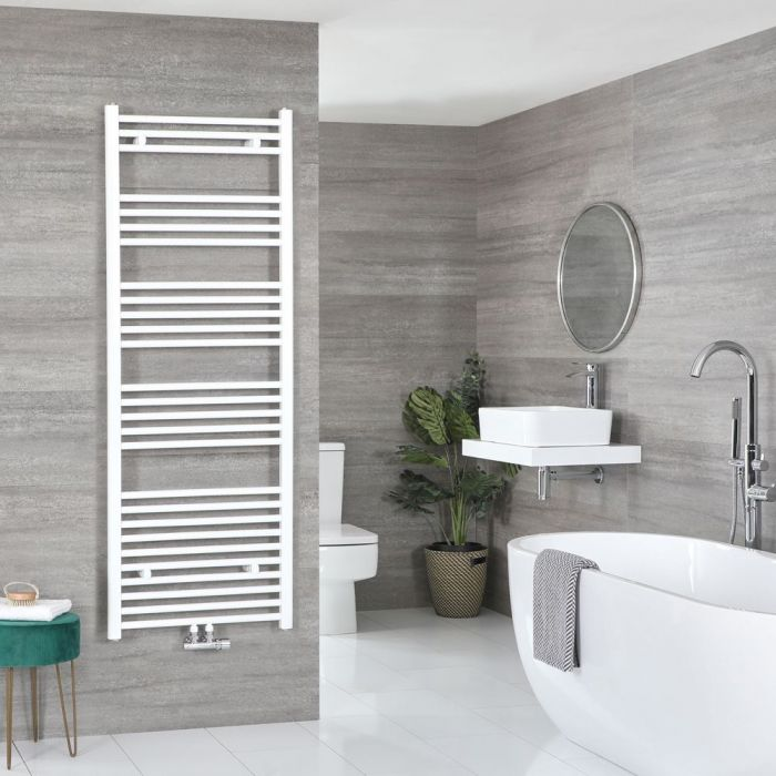 "Neva – White Hydronic Central Connection Flat Towel Warmer – 63"" x 23 5/8"""