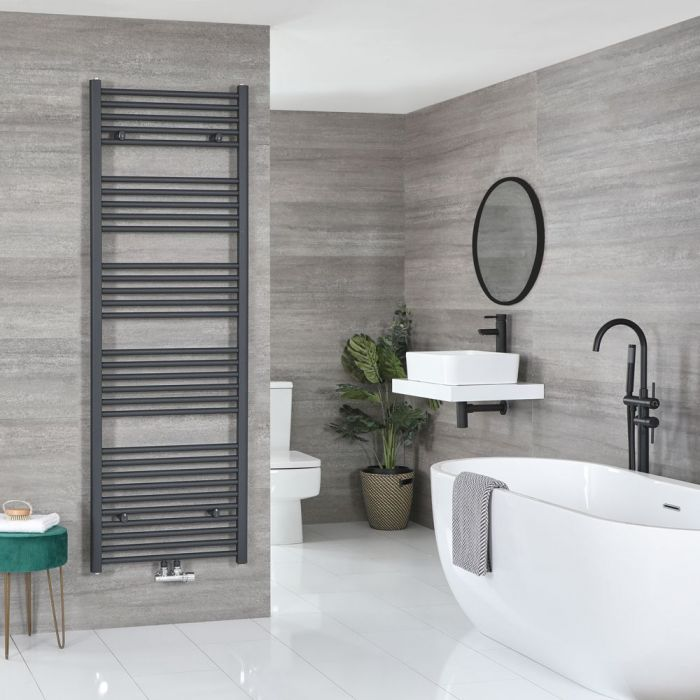 """Neva - Anthracite Hydronic Central Connection Flat Towel Warmer - 70 1/4"""" x 23 5/8"""""""