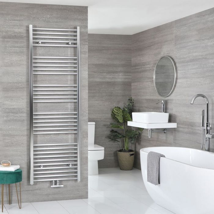 """Neva - Chrome Hydronic Central Connection Flat Towel Warmer - 70 1/4"""" x 23 5/8"""""""