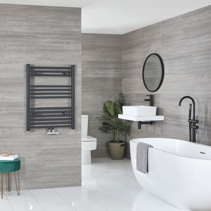 """Neva - Anthracite Hydronic Central Connection Flat Towel Warmer - 31 5/8"""" x 23 5/8"""""""
