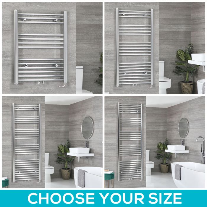 Neva Electric - Chrome Flat Towel Warmer - Choice of Size